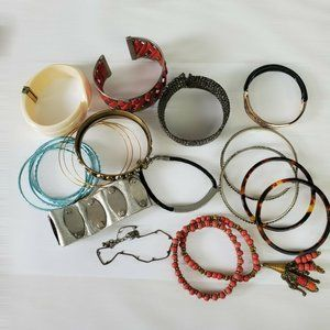 Lot of 20 Bracelets Bangles Cuffs Plastic Metal Jewelry Vintage and Modern